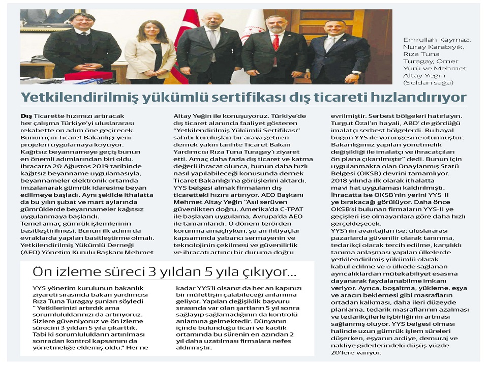 Mr. Sami ALTINKAYA, jounalist of the Dünya newspaper, and Mr. Mehmet Altay YEGIN, Chairman of the Board of Directors, conducted a pleasant interview.